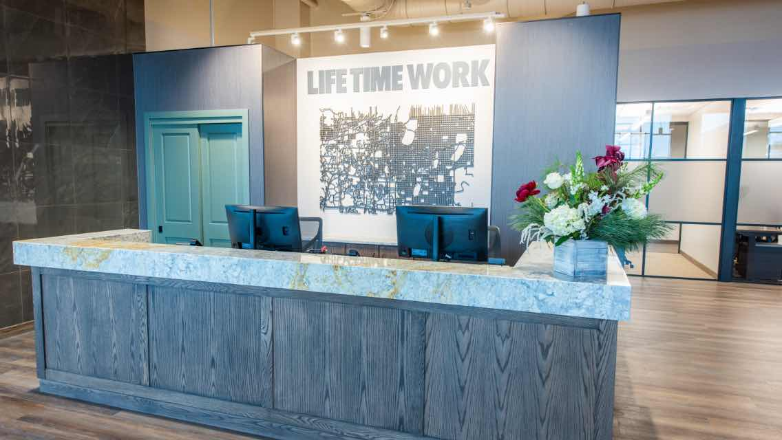 reception area at Life Time Work Edina